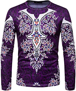Macondoo Mens Muslim Printed Crew Neck Slim Fit Long Sleeve Top Tee T-Shirts