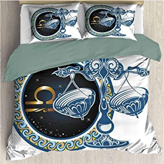 Decorative 3 Piece Bedding Set with 2 Pillow Shams Zodiac Historical Astronomy Icon Sign Libra Pattern with Wheel and Scales Planetary Image With With Zipper Closure Ultra Blue Gold (California King)