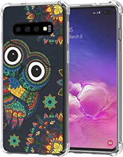Galaxy S10+ Plus Case, Ailiber S10Plus Floral Owl Colorful Bird Drawings Clip Art Thin Light Design Shock Absorption Soft TPU Bumper Protective Cover for Samsung Galaxy S10+ 6.4 inch - Owl Cartoon