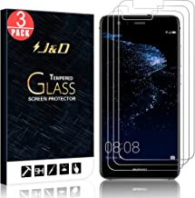 J&D Compatible for 3-Pack Huawei P10 Lite Glass Screen Protector, [Tempered Glass] [Not Full Coverage] HD Clear Ballistic Glass Screen Protector for Huawei P10 Lite Screen Protector