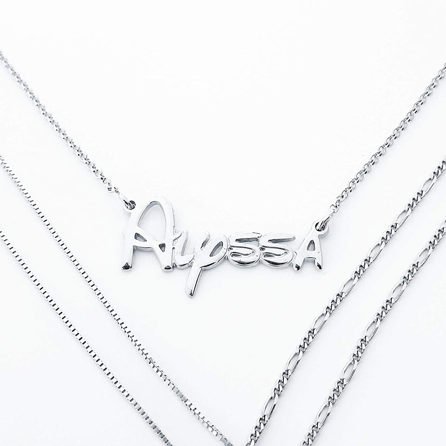 Silver Initials Monogram Necklace Disney Font Recommended Style Max 44% OFF Waltograph