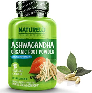 NATURELO Ashwagandha Organic Root Powder - Natural Herbs Supplement for Mental Stress Relief, Mood Enhancer, Thyroid Suppo...