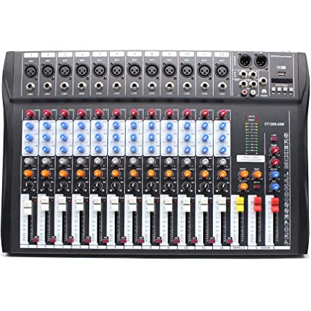 Eapmic 12 Channel Sound Board Mixer Studio Mixing Console, 48V Live Studio Audio Mixer Sound Board Mixing Console System USB Sound Mixer CT120S-USB