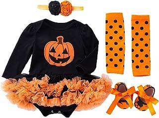Baby Girls Halloween Skeleton Tutu Dress Set, Infant Pumpkin Costume