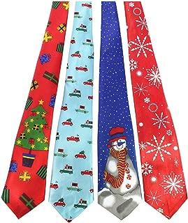 Original 4PCS One-off Christmas Tie Mens and boys Necktie for Festival