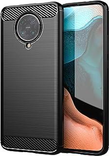 Xiaomi Poco F2 Pro 5G ケース【YEZHU】炭素繊維カバー TPU 保護 軽量 弾力性付き衝撃吸収バンパー Poco F2 Pro 5Gケース 対応 (ブラック)