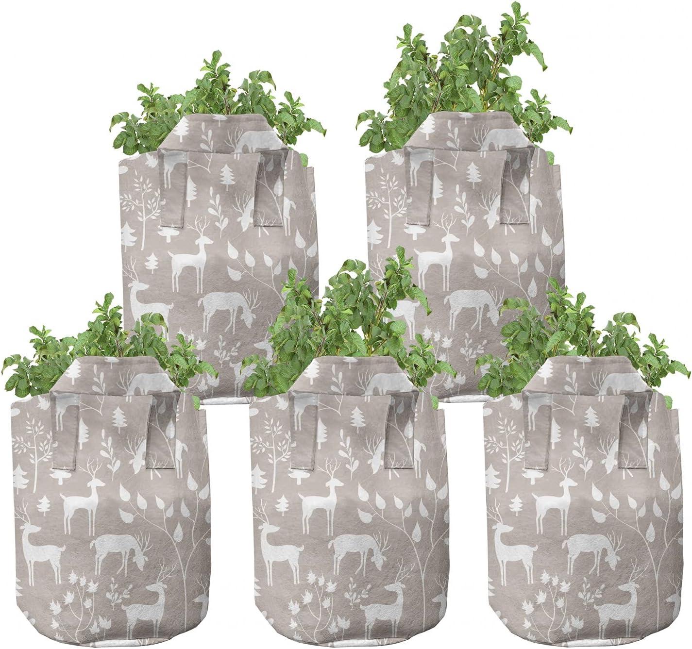 Ambesonne Winter Grow Bags 5-Pack Deer Pines Regular store Popular popular Forest Hea Pastel