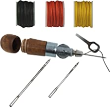Leather Sewing Tailors Awl Kit, Stitching Awl Tool for Heavy Fabrics, Handheld | Made in USA | Must Have Leathercraft Tool & Heavy Fabric Repairs – (3 Threads Colors)
