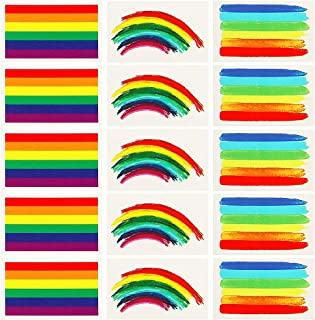 24pcs Gay Pride Rainbow Stickers Temporary Tattoo Body Paint 3 Shapes Tattoo Set for Gay Pride celebrations (square)