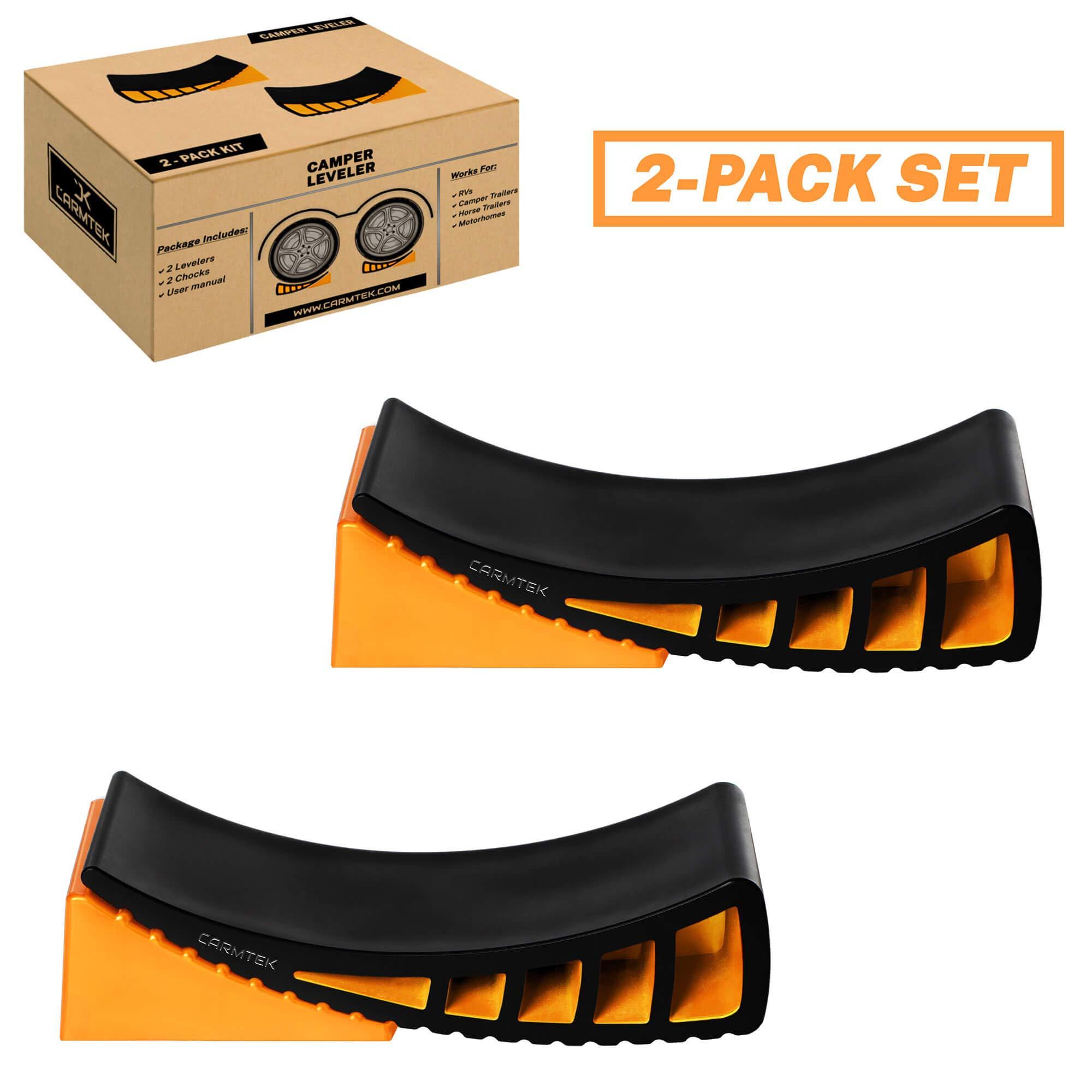CARMTEK Camper Leveler Kit - Curved RV Levelers with Camper Wheel Chocks for Travel Trailers | Faster Camper Leveling Than RV Leveling Blocks (2 Pack)