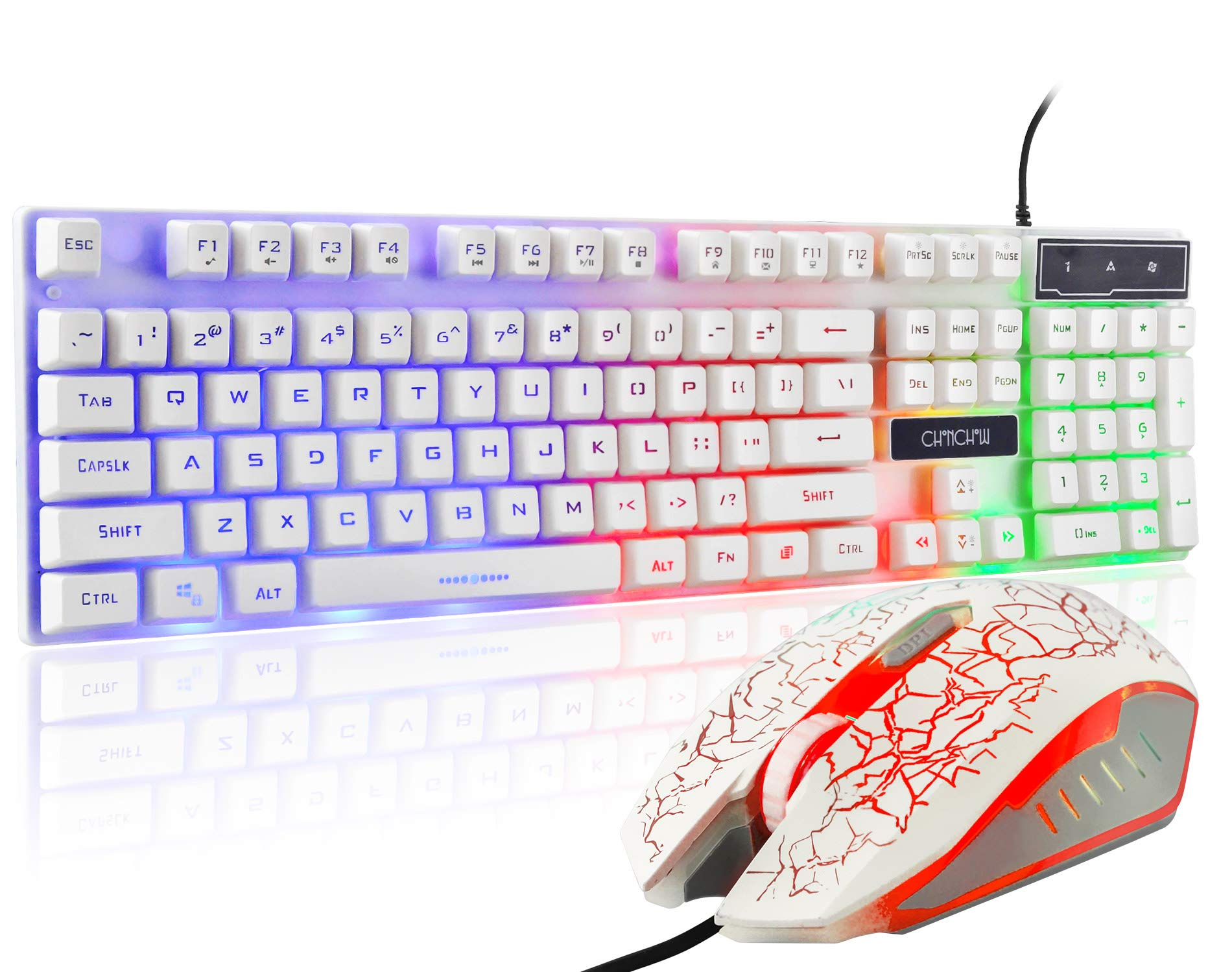 Black CHONCHOW Rainbow Gaming Keyboard and Mouse Combo Mechanical Feeling Wired LED Backlit Gaming Mouse and Keyboard Emitting Character Compatible with PC Windows PS4