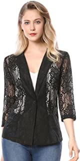 Women's 3/4 Sleeves Notched Lapel One-Button Cardigan Lace Blazer