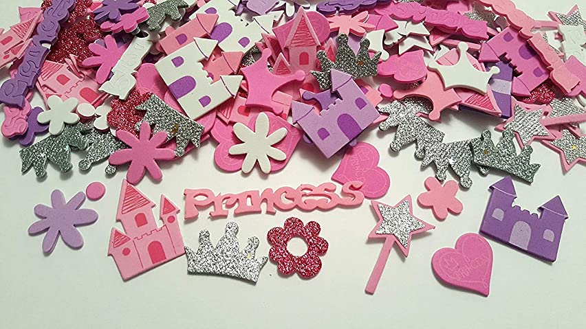 167 Princess Foam Stickers- Castles, Wands, Crowns, Flowers, and More!