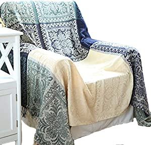 UNIGARDEN Chenille Jacquard Tassels Throw Blankets for Bed Couch Decorative Soft Chair Cover (Tribal Pattern, Medium)