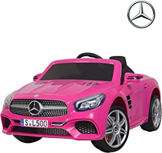 Uenjoy 12V Licensed Mercedes-Benz SL500 Kids Ride On Car Electric Cars Motorized Vehicles for Girls, with Remote Control, Music, Horn, Spring Suspension, Safety Lock, Pink