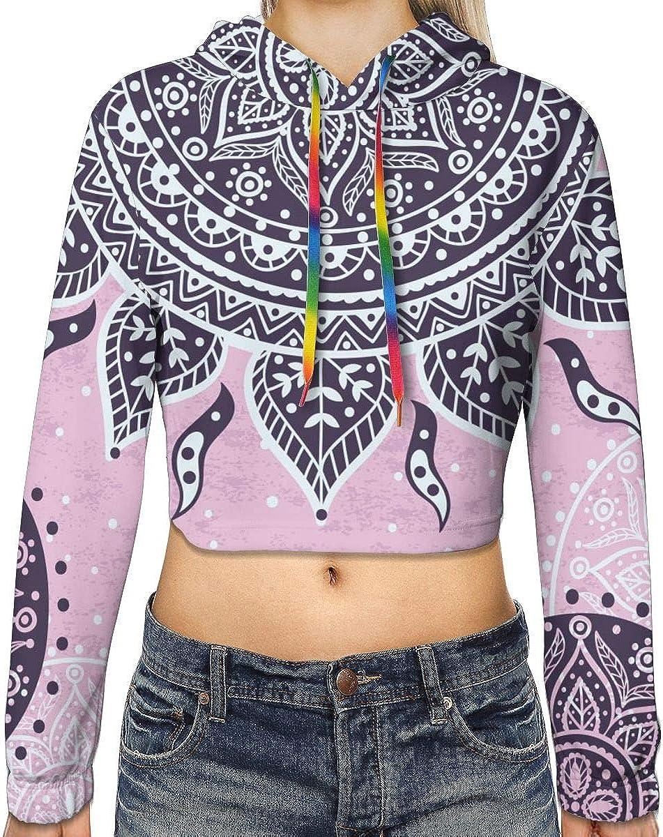 Indian Mandala Women's Pullover Crop Hooded Purchase Top San Diego Mall Hoodie Sweatshir