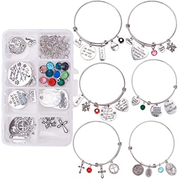 6 Pcs Adjustable Bangle For DIY Charm Locket Jewelry Findings Making Crafts