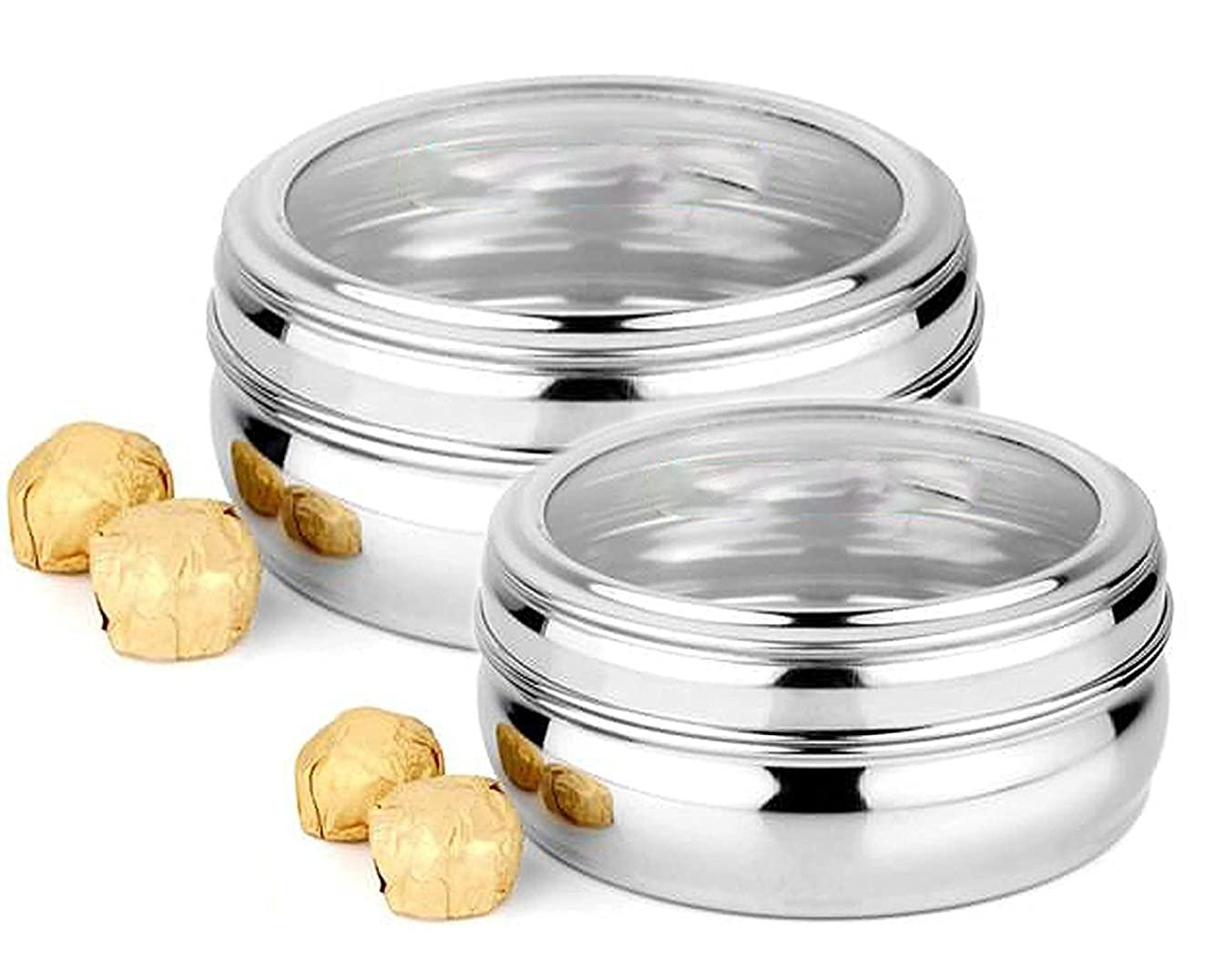 King International 100% Stainless Steel See Thru Storage Containers | Storage Box (Puri Dabba), Set Of 2 Pieces