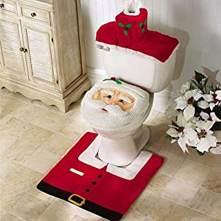 1 Set (3 Pcs/Set) Christmas Santa Claus Seat Bath Mat Kids Nonslip Textured Round Rubber Suction Stick Cups Absorbent Expert Popular Vintage Hotel Extra Large Washable Water Closet WC Bathtub Mats