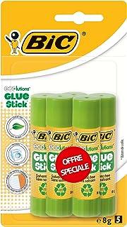 BIC ECOlutions Bâtons de Colle Blanche - 8 g, Blister Format Spécial de 5