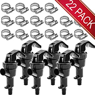 HOKICHEN 6 Pack Picnic Plastic Kitchen Tap Faucet and 16 Pack Hose Clamp Disconnect Ball Lock Line Dispenser Keg Spigot For Beer