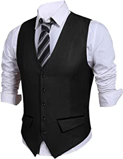 JINIDU Mens Waistcoats with Pockets Casual Slim Fit Waistcoats Formal for Wedding/Business/Party