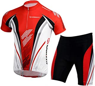 sponeed Bicycle Jersey for Men Cyclist Shirts and Shorts Set Short Sleeve Suits Padded Bike Pants