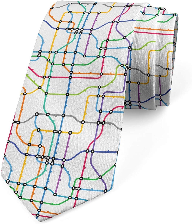 Ambesonne Men's Tie, Colorful Lines Metro Scheme, Necktie, 3.7