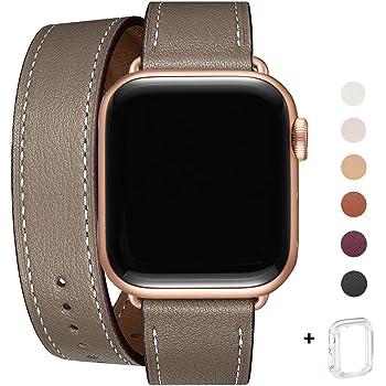 WFEAGL コンパチブル Apple Watch バンド, は本革を使い, iwatch series 5/4/3/2/1 レザー製,Sport/Edition向けのバンド交換ストラップです コンパチブル アップルウォッチ バンド (38mm 40mm, キャメルブラウン+ローズゴールド アダプター)