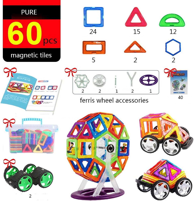 60 pcs set Magnetic Building Blocks Magnetic Tiles Ferris Wheel Educational Toys for Boys Girls