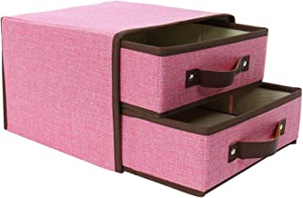uxcell® Linen Fabric 2-Drawer Storage Chest Box with Handle, Large Storage Bin for Shelves Unit Storage Cabinet Multi-Bin ...