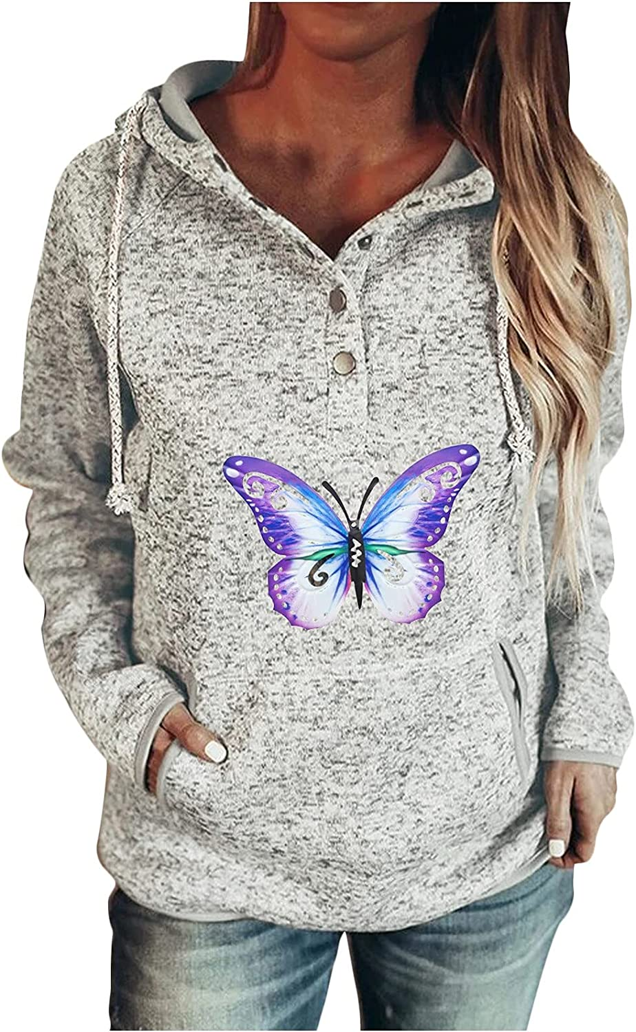 Auwer Women's Long Sleeve Drawing Hoodie Solid Button Crew Neck Graphic Pullover Sweatshirt with Pocket