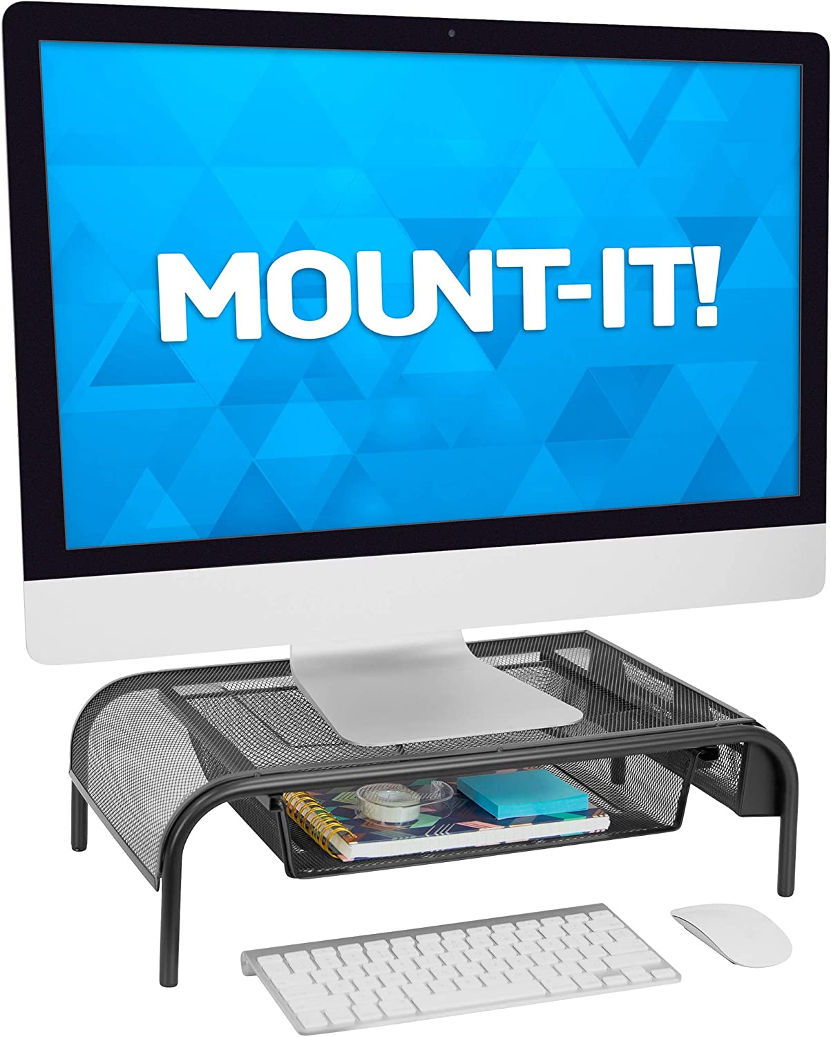 MOUNT-IT! Metal Mesh Computer Monitor Stand [20
