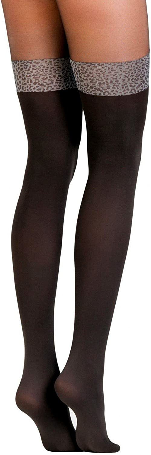 Conte Women's Black Opaque Pantyhose Tights Imitating Thigh High Stockings with Leopard Band - Carmine