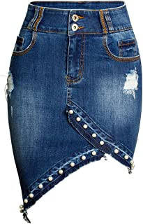 Women's Irregular Pearl Raw Hem Bodycon Frayed Holes Pencil Jean Skirt
