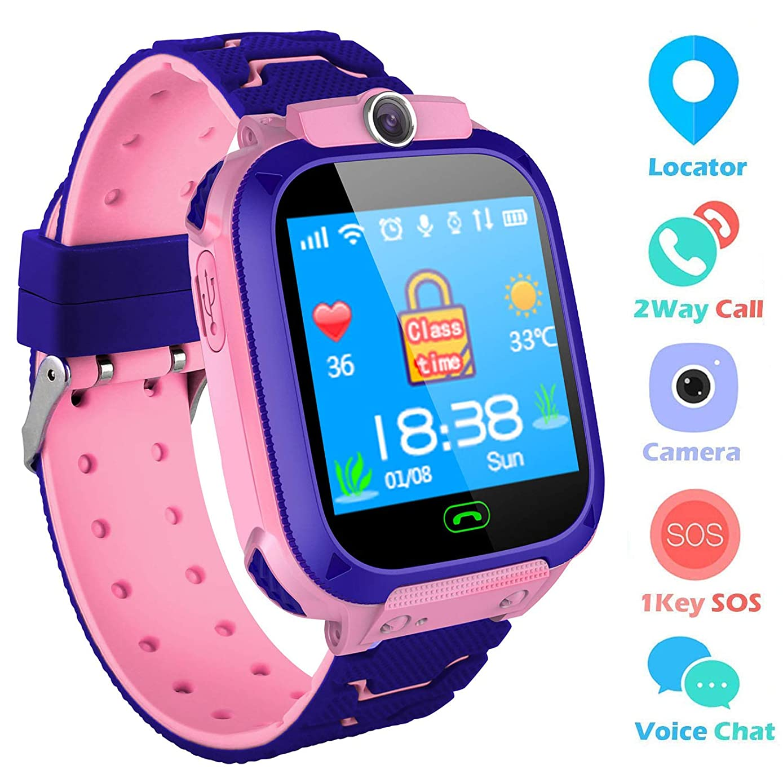 Kids Smartwatch,THEMOEMOE GPS Kids Tracker Samrt Watch with Camera Calls SOS Smart Watch for Kids Girls Boys(Pink)