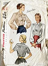 Simplicity 2277 c Vintage 1940's Sexy Secretary Blouse Shirt Sewing Pattern Check Listings for Size