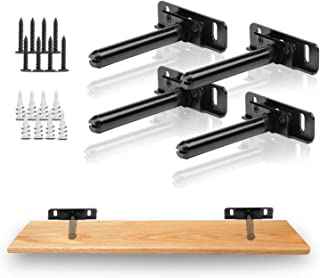 Shelf Brackets - Stainless Steel,Floating,Hidden,Heavy Duty,Low Profile,Support,Completely Concealable,Black DIY Adjustable Mount Blind Shelf Support Brackets with Screws (Black-4 Packs)