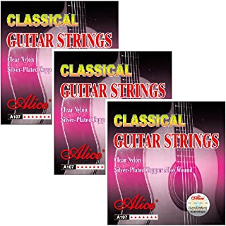3 Packs Alice A107 Standard Tension 028-043 Clear Nylon Silver Plated Copper Alloy Wound Classical Guitar Strings