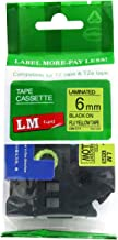 LM Tapes - Brother PT-1750 Label Printer 6mm Black on Fluorescent Yellow Compatible TZe P-touch Tape (1/4