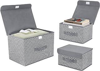 DIMJ Lot de 3 boîtes de rangement pliables avec couvercles en tissu avec poignée, grands bacs de rangement pour jouets, li...