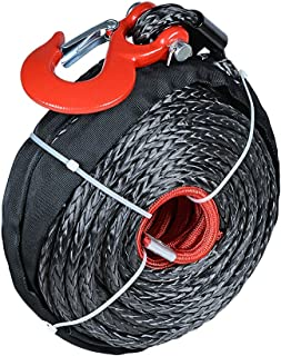 1/2 inch x 92 feet Synthetic Winch Rope Black Cable with Heat Guard and Red Hook for Jeep ATV UTV Truck Boat