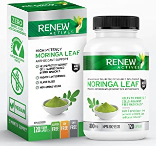 Renew Actives Moringa Leaf Supplement: 800mg Daily Serving - High Potency Moringa Oleifera for a Better Mood and Energy - ...