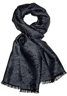 Herren Luxus Schal Luxustuch elegant gewebt in Damast Webung florales Paisley Muster aus Viskose mit Seide 55 cm x 190 cm - 8905811