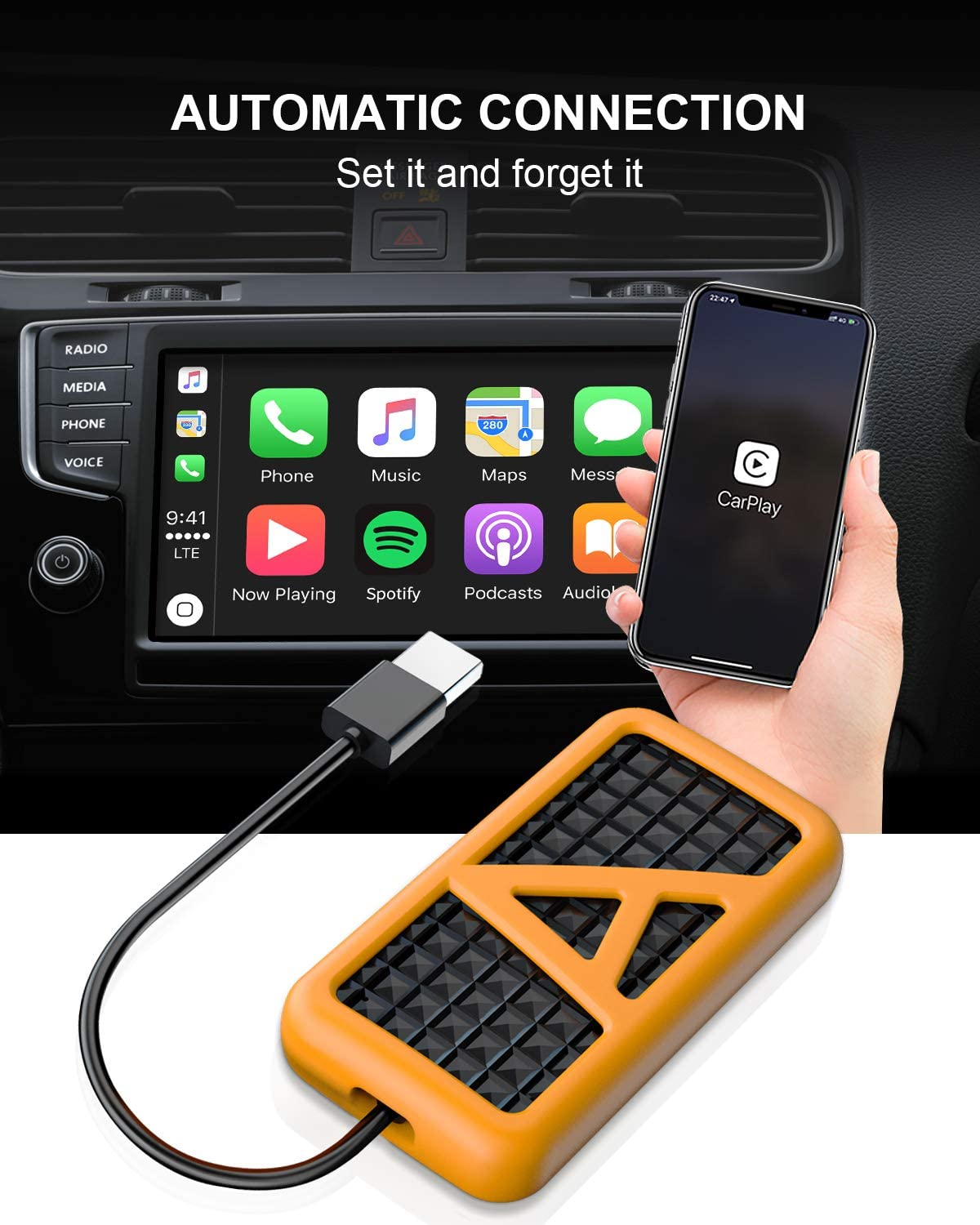 Convert Wired CarPlay to Wireless Compatible with A3 A4 A5 A6 A7 Q2 Q5 Q7 R8 TT MMI 2017-2019 Wireless CarPlay Adapter CarPlay USB Dongle for Factory CarPlay Smartphone Link Receiver for iPhone