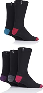 Jeff Banks Mens Contrast Heel and Toe Wool Mix Leisure Socks Pack of 5