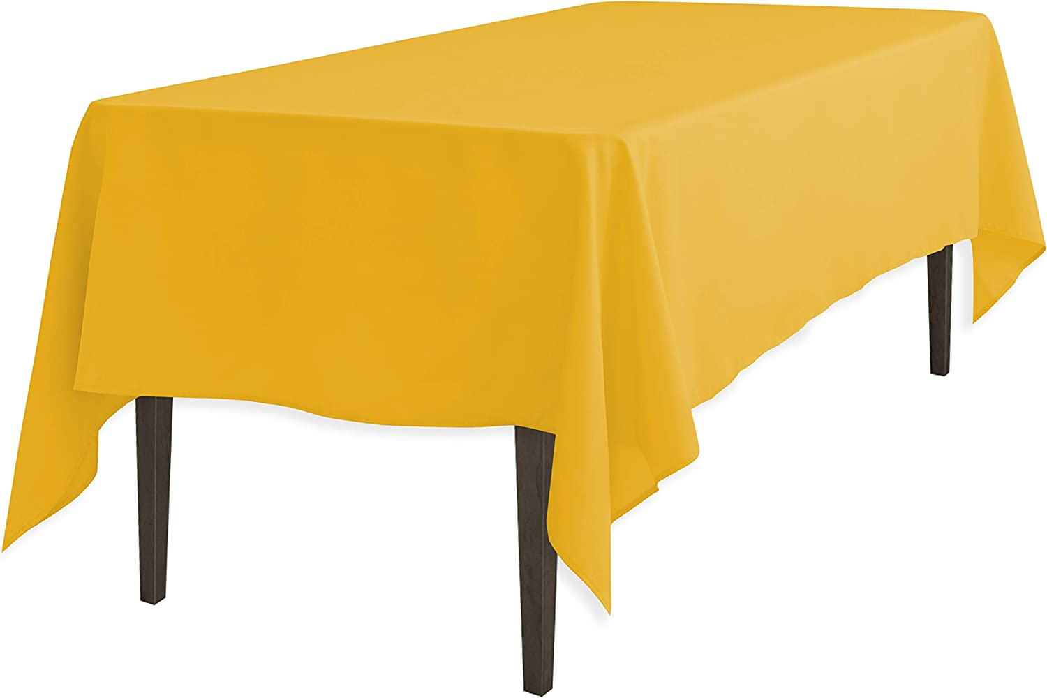 LinenTablecloth Rectangular Polyester Tablecloth, 60Inch by 126Inch, gold