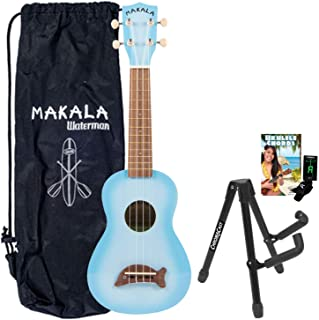 Kala MK-SD/LBLBURST Light Blue Soprano Dolphin Series Ukulele with Stand, Clip-On Tuner, Bag & Lesson-Chord Guide