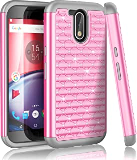 Moto G4 Case,Moto G4 Plus Case,Moto G 4th Gen Case,TILL Studded Rhinestone Crystal Bling Shock Absorbing Hybrid Defender Rugged Slim Case Cover for Motorola Moto G 4th Gen 2016 [Pink]