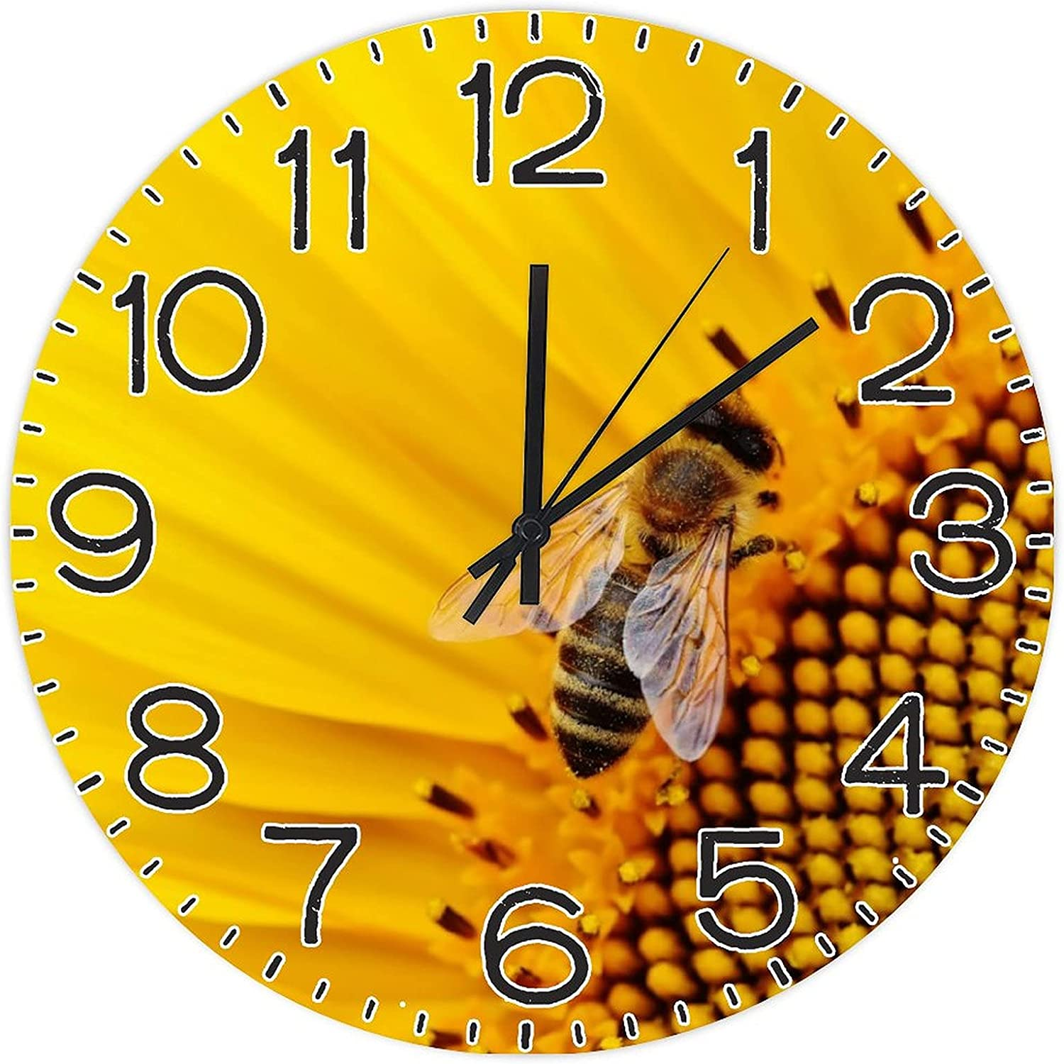Sunflower Bees Round Limited price sale Wall 4 years warranty Clock Hom PVC Non-Ticking Silent